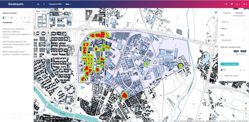 goolzoom catastro pro analizar areas mapas calor