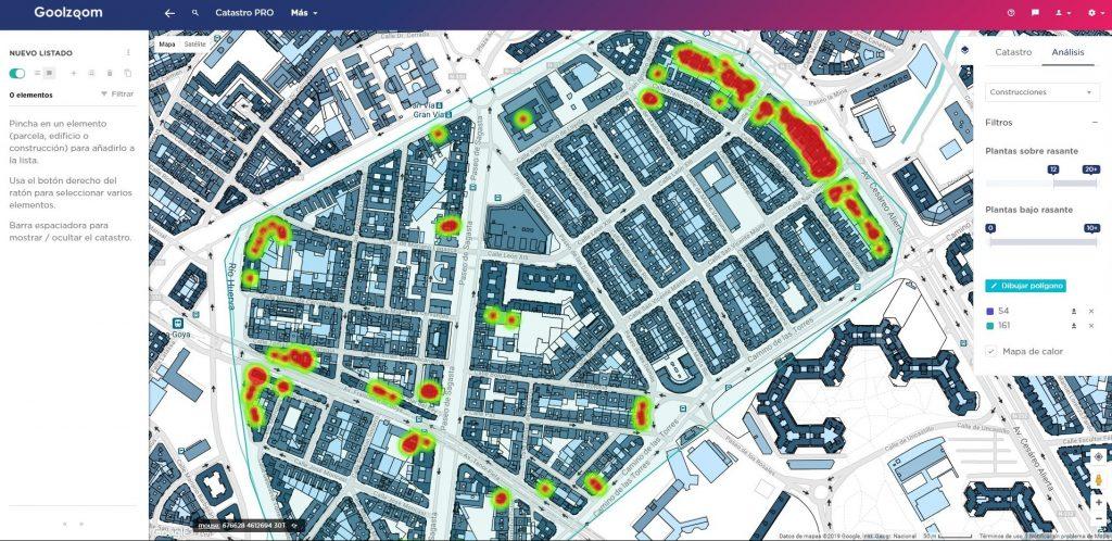 goolzoom visor catastro pro analisis mapas calor