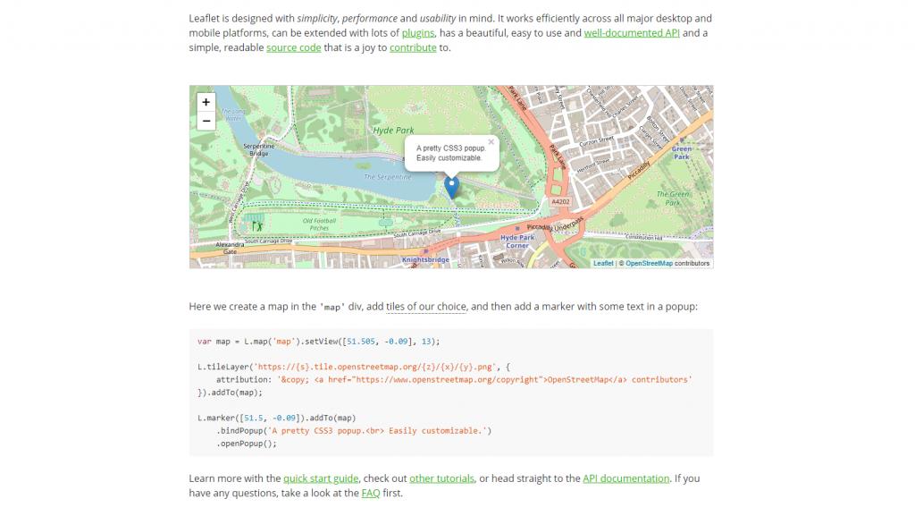 Leaflet API web mapping