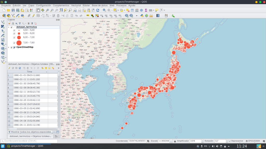 Time Manager QGIS mapa animado datos
