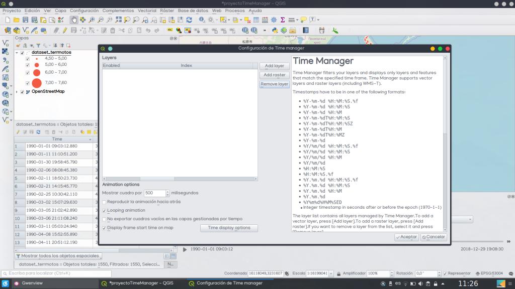 QGIS Time Manager añadir capa