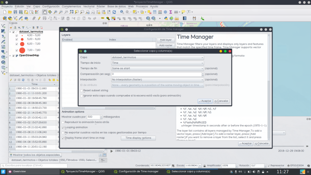 Crear mapa animado QGIS Time Manager