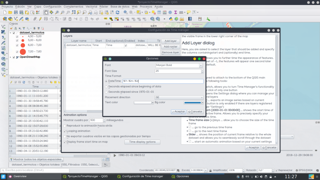 Configurar animación mapa QGIS Time Manager