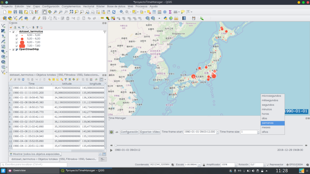 Time Manager animar series temporales QGIS