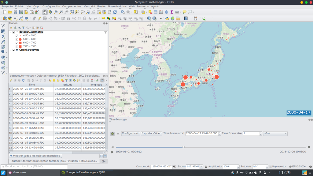 QGIS Time Manager como crear mapa animado evolución temporal