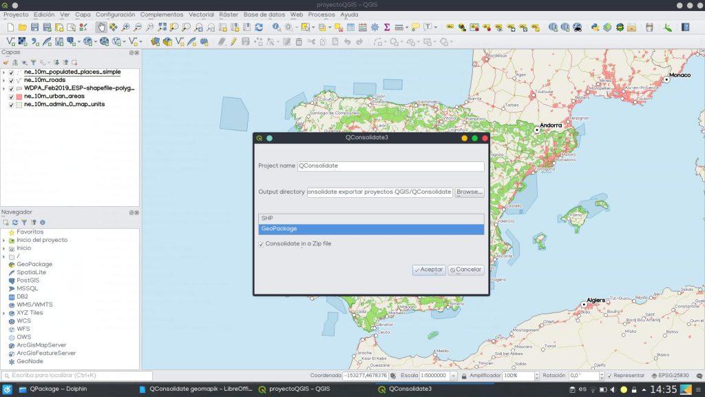 QConsolidate QGIS exportar proyectos