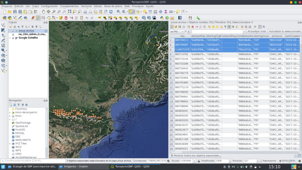 GBIF descargar datos localización especies QGIS