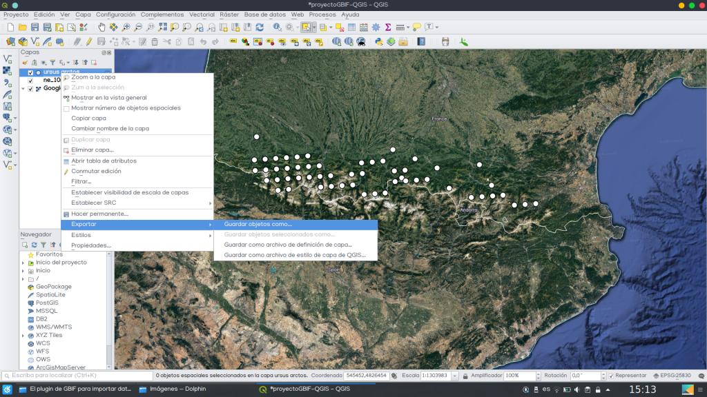 QGIS datos distribución especies GBIF