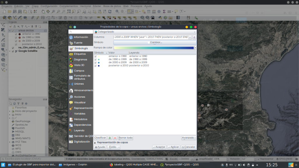 GBIF Ocurrences representar datos QGIS