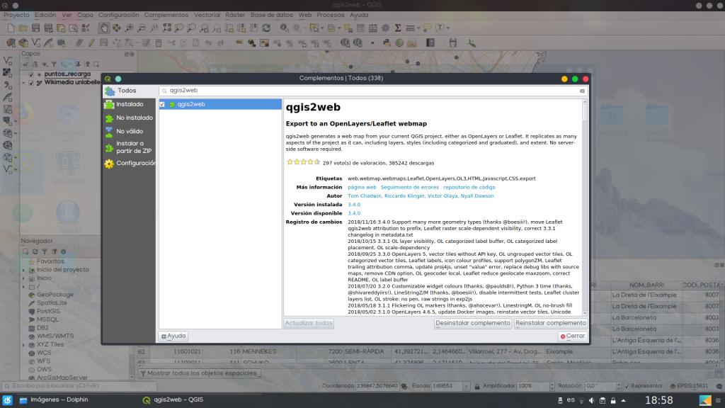 cómo instalar qgis2web plugin