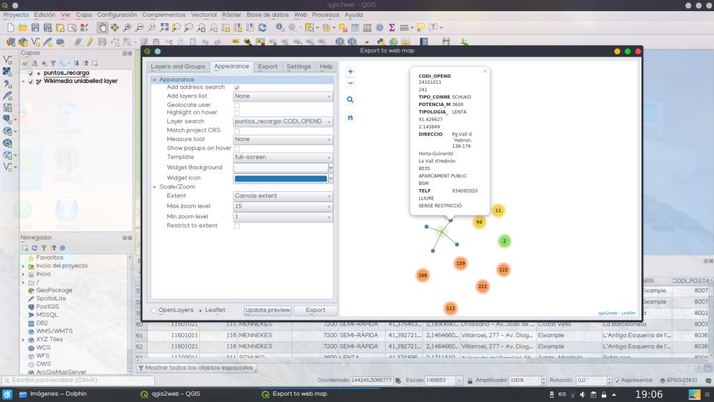 configurar mapa web interactivo qgis2web
