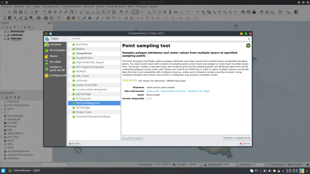 Plugin Point Sampling Tool QGIS capa ráster