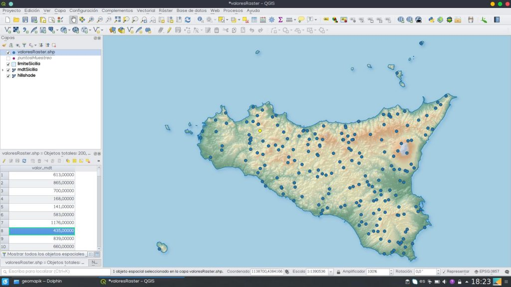 Obtener valores ráster QGIS - Point Sampling Tool