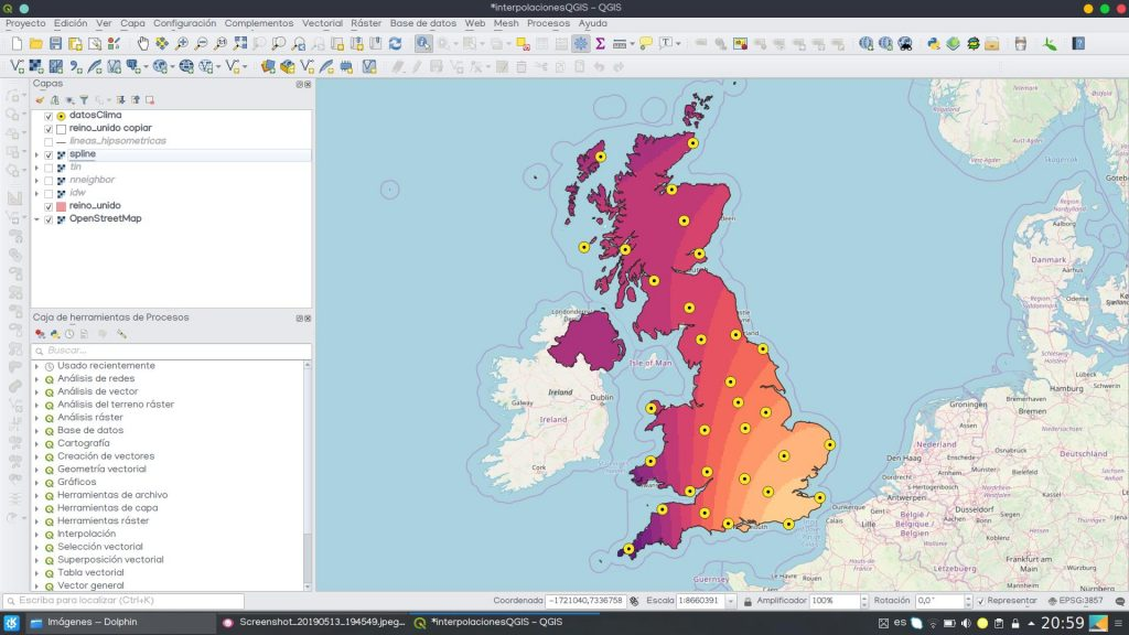 interpolacion espacial spline QGIS