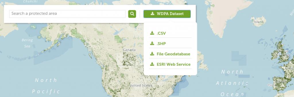 descargar base datos espacios protegidos mundial