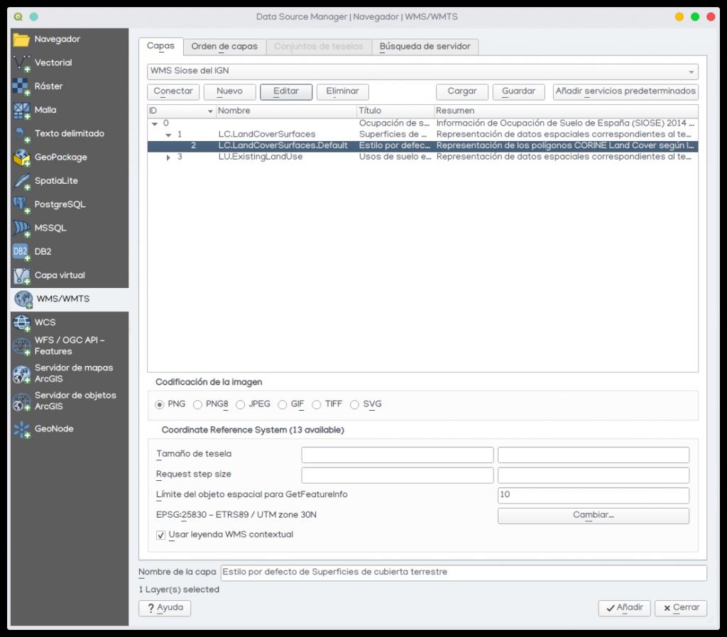 cargar wms QGIS parámetros conexión