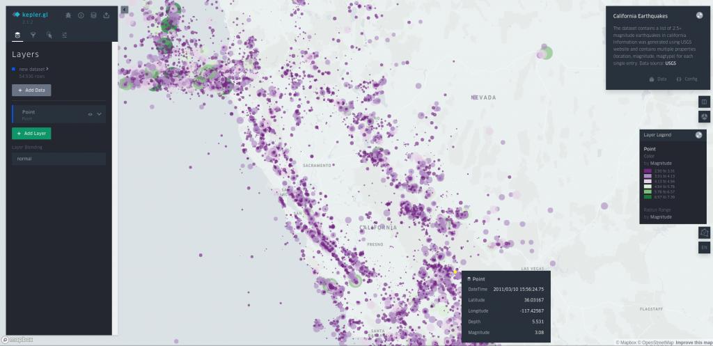 kepler.gl maps and data analysis