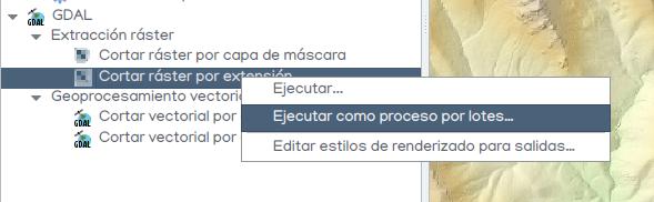 ejecutar proceso por lotes en QGIS
